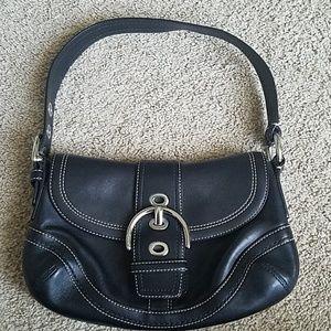 Coach Black Leather Hobo Shoulder Handbag